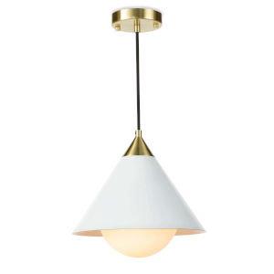 Hilton White and Natural Brass One-Light Pendant