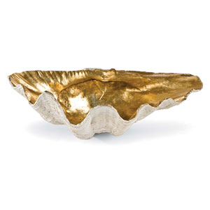 New South Gold Leaf 14-Inch Clam Bowl