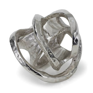 Modern Glamour Polished Nickel Metal Knot Sculpture