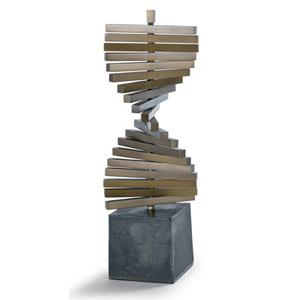 LA Modern Natural Brass and Blackened Iron Revolution Sculpture