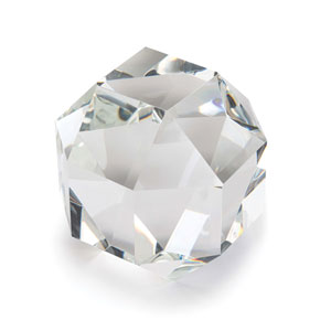 Modern Glamour Clear Seven-Inch Crystal Octahedron