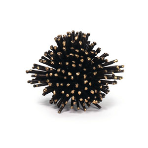 LA Modern Blackened Iron and Brass Sea Urchin Sculpture