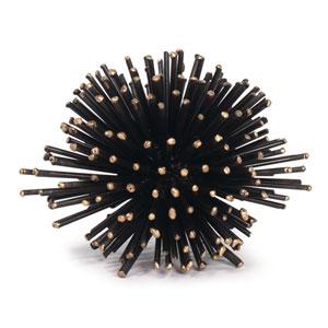 LA Modern Blackened Iron and Brass Nine-Inch Sea Urchin Sculpture