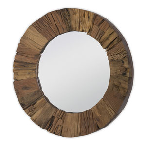 East End Concave Matte Wood 24-Inch Mirror