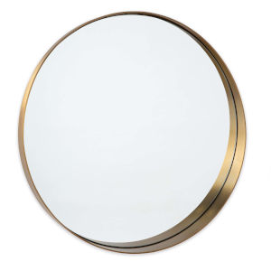 Gunner Natural Brass Round Wall Mirror