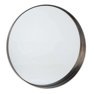 Gunner Blackened Steel Round Wall Mirror