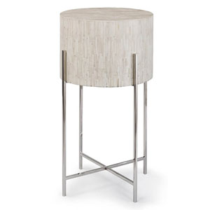 LA Modern Polished Nickel Accent Table