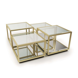 Noel Natural Brass Coffee Table, Set Of 4