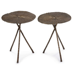 Lotus Antique Brass 27-Inch Table, Set of 2