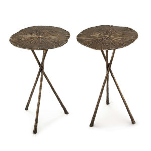 Lotus Antique Brass Table, Set of 2