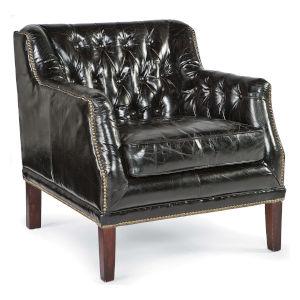 Equestrian Ebony Leather Chair