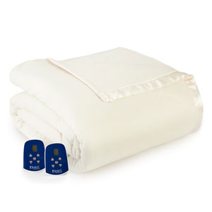 Ivory Full Micro Flannel Electric Blanket