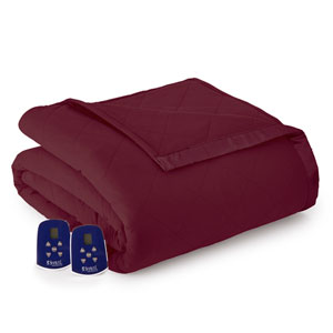 Wine Full Micro Flannel Electric Blanket