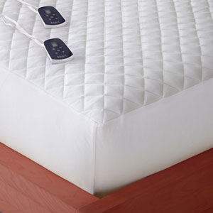 White Cal King Micro Flannel Electric Mattress Pad