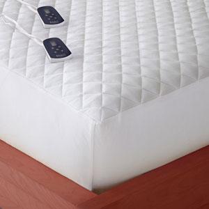 White Full Micro Flannel Electric Mattress Pad