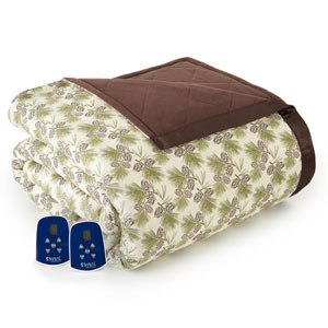 Pinecone Queen Micro Flannel Electric Blanket