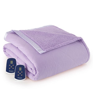 Amethyst Full Micro Flannel Reverse to Sherpa Electric Blanket