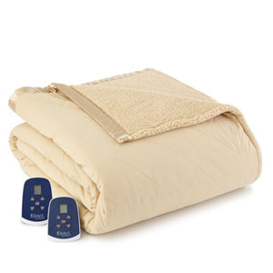 Chino Full Micro Flannel Reverse to Sherpa Electric Blanket