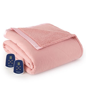 Frosted Rose Full Micro Flannel Reverse to Sherpa Electric Blanket