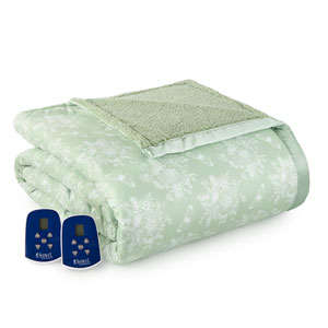 Toile Celadon Full Micro Flannel Reverse to Sherpa Electric Blanket