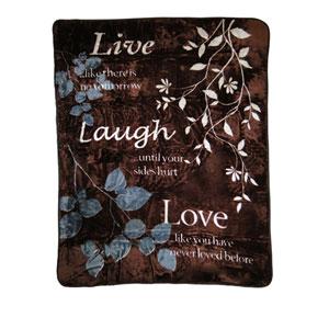 Live Laugh Love 60 x 80 In. Hi Pile Luxury Throw