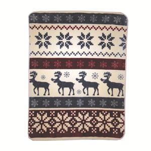 Reindeer Stripe 60 x 80 In. Hi Pile Luxury Throw