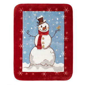 Snowman 60 x 80 In. Hi Pile Luxury Throw