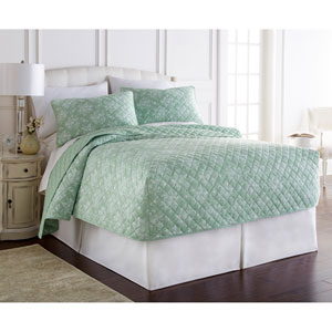 Toile Celadon Queen Micro Flannel Fitted Mini Quilt, Set of 3