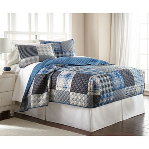 Smokey Mt. Plaid Twin Micro Flannel Fitted Mini Quilt, Set of 2