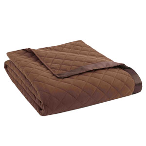 Chocolate Full/Queen Micro Flannel Quilted Blanket