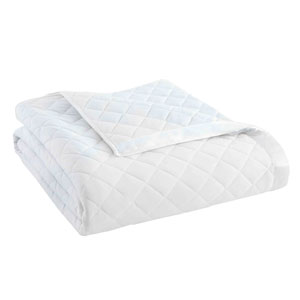 White Twin Micro Flannel Quilted Blanket
