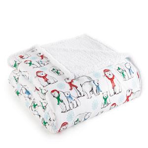 Polar Bears Full/Queen Micro Flannel Sherpa Blanket