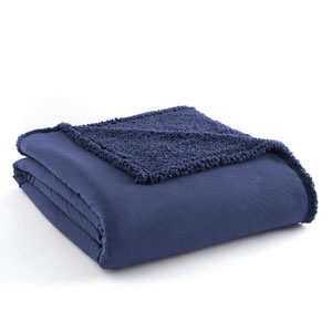Smokey Mt. Blue Full/Queen Micro Flannel Sherpa Blanket