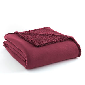 Wine Full/Queen Micro Flannel Sherpa Blanket