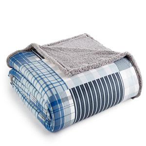 Smokey Mt. Plaid King Micro Flannel Sherpa Blanket
