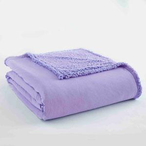 Amethyst Twin Micro Flannel Sherpa Blanket