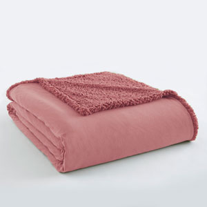 Frosted Rose Twin Micro Flannel Sherpa Blanket
