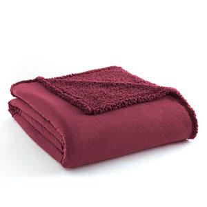 Wine Twin Micro Flannel Sherpa Blanket