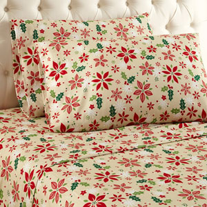 Poinsettia Cal King Micro Flannel Sheet, Set of 4