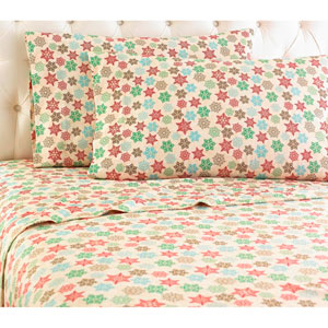 Snowflake Cal King Micro Flannel Sheet, Set of 4