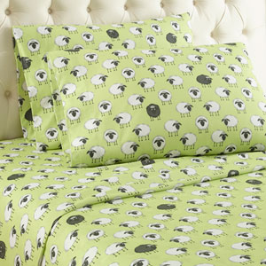 Sheep Green Cal King Micro Flannel Sheet, Set of 4
