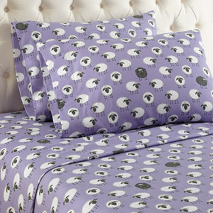 Sheep Lavender Cal King Micro Flannel Sheet, Set of 4