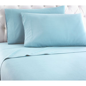 Spa Blue Cal King Micro Flannel Sheet, Set of 4
