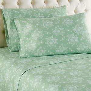Toile Celadon Cal King Micro Flannel Sheet, Set of 4