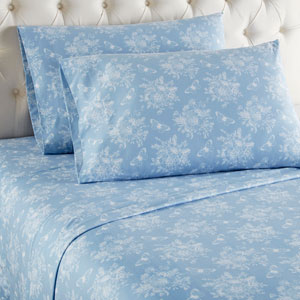 Toile Wedgewood Cal King Micro Flannel Sheet, Set of 4