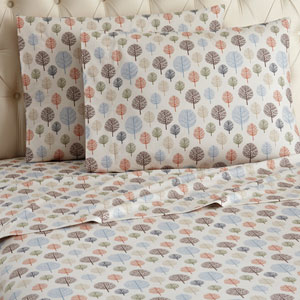 Trees Cal King Micro Flannel Sheet, Set of 4
