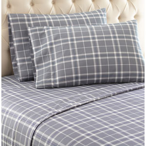Carlton Plaid Gray Queen Micro Flannel Sheet, Set of 4