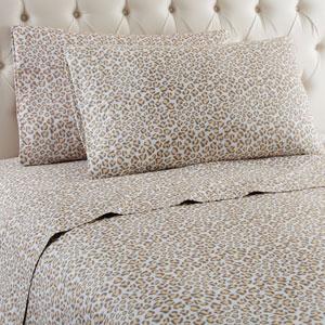 Leopard Queen Micro Flannel Sheet, Set of 4