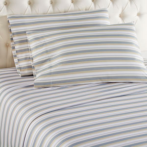 Metro Stripe Queen Micro Flannel Sheet, Set of 4