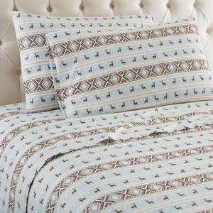 Reindeer Stripe Queen Micro Flannel Sheet, Set of 4